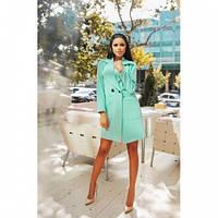 Пальто кашемировое женское модное 126 -2 бирюза