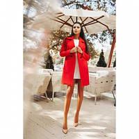 Пальто кашемировое женское модное 126 -2 красное