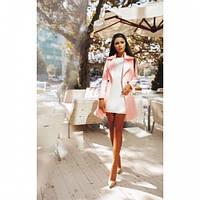Пальто кашемировое женское модное 126 -2 розовое