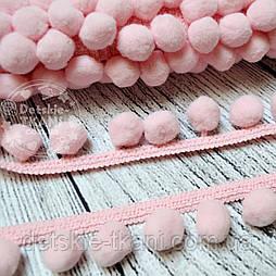 Тесьма с помпонами 20 мм розового цвета (Польша)