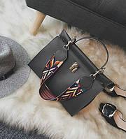 Стильная женская вместительная сумка серого цвета
