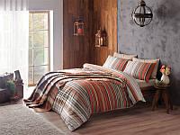 Двуспальное постельное белье TAC Luke brown  + плед