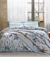 Двуспальное постельное белье TAC Arlet blue  + плед