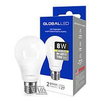 LED лампа GLOBAL A60 8W E27 3000K теплый свет 220V (1-GBL-161), фото 1