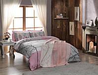 Двуспальное постельное белье TAC Laurel pembe + плед