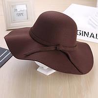 Стильная женская широкополая шляпа из фетра шоколадного цвета