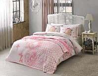 Двуспальное постельное белье TAC Loire pembe + плед