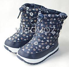 Модные дутики на зиму для девочки сапоги темно синий ромашка 22р.