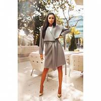 Пальто женское кашемировое с запахом №125 серое