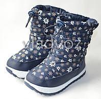 Модные дутики на зиму для девочки сапоги темно синий ромашка 30р.