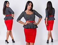 Женское прямое платье батал  с баской, верх - горох, низ однотонный