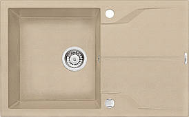 Мийка 1-камерна з полицею Deante АNDANTE, пісочний граніт, 780х490х190 мм
