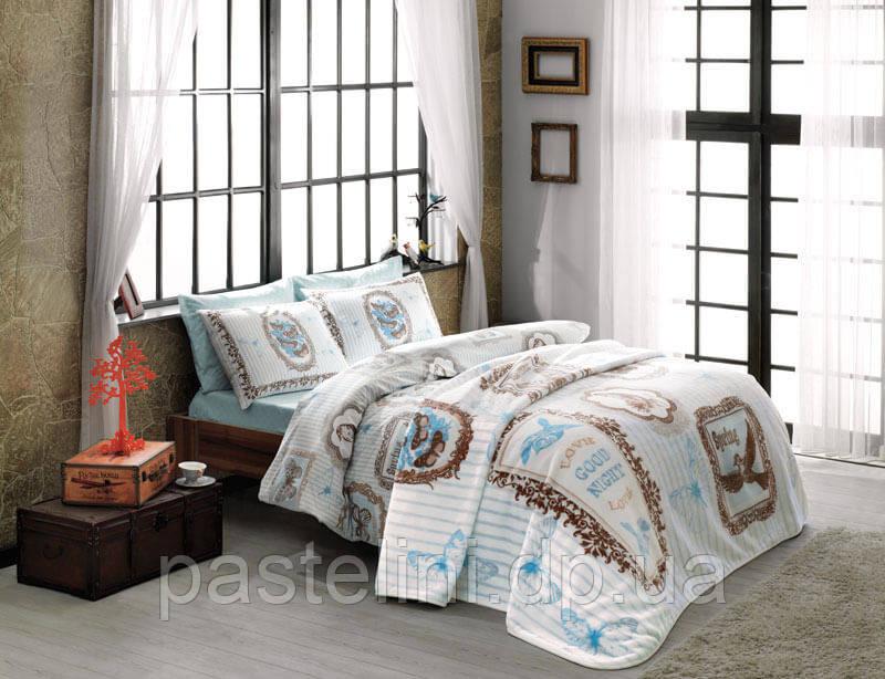 Двуспальное постельное белье TAC Camille turkuaz  + плед