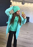 Комплект женский Пальто, свитер ,шапка +хамут НВ016