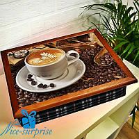 Поднос с подушкой Ароматный кофе