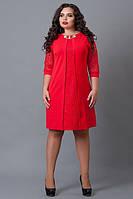"""Красное платье с гипюром (ботал)  - """"Анабель"""" код 505"""