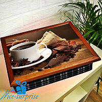 Поднос с подушкой для завтрака Кофе с шоколадом