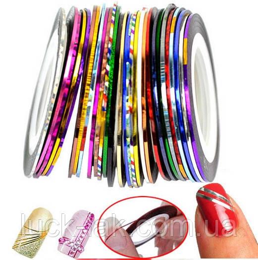 Скотч для дизайна ногтей, металлическая лета 1 мм