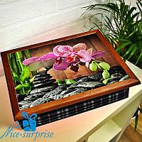 Поднос с подушкой для завтрака в постель Орхидея