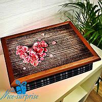 Деревянная подставка для ноутбука Сердце из роз