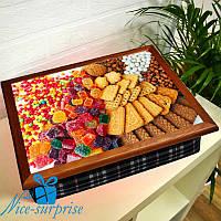 Столик для ноутбука с подушкой Печеньки и сладости