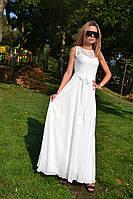 Платье женское в пол гипюр пояс-бант