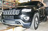 Декоративно-захисна сітка радіатора Jeep Grand Cherokee 2013 - фальшрадіаторная решітка, бампер, фото 6