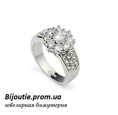 Кольцо КАССИ  ювелирная бижутерия белое золото 18к декор кристаллы Swarovski