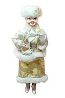 """Новогодние игрушки Кукла сувенирная """"Снегурочка"""" в белой шубке и бежевой юбочке"""