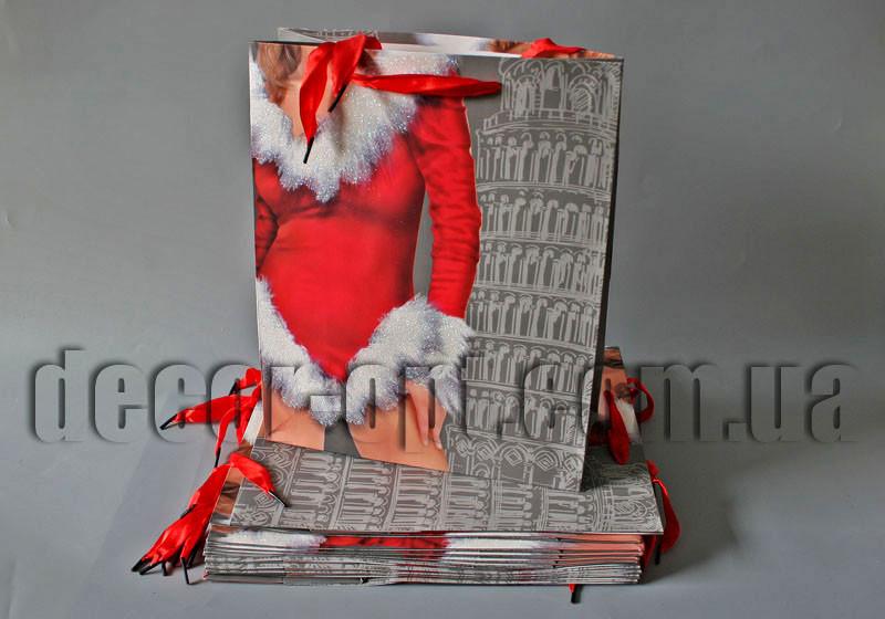 Подарочные картонные пакеты с присыпкой Снегурочка  26х32х12см/12шт TO174 св.