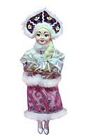 """Новогодние игрушки Кукла сувенирная """"Снегурочка"""" в белой шубке и розовой юбке"""