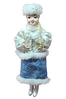 """Новогодние игрушки Кукла сувенирная """"Снегурочка"""" в белой шубке и голубой юбочке"""