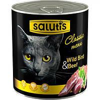Мясные консервы для кошек Salutis Wild Bird & Beef с птицей и говядиной, 360г
