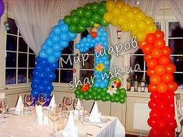 Радужная арка с циферкой из воздушных шаров