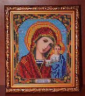Икона Казанской Божьей Матери ручной работы вышитая бисером