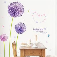 """Наклейка на стену, виниловые, наклейка цветок, наклейки на шкаф """"фиолетовый одуванчик"""" 1м40см, лист50*70см"""
