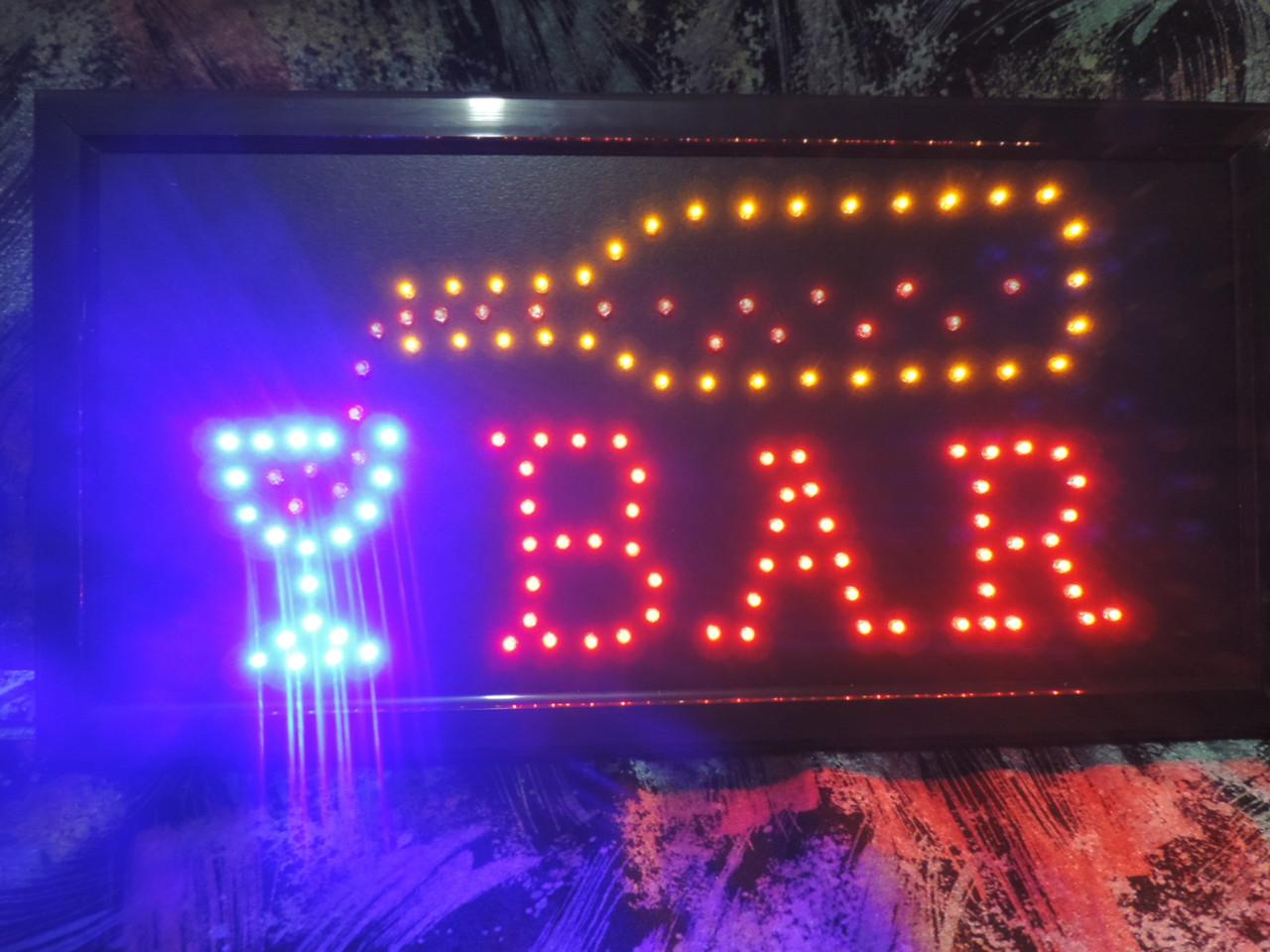 """Вывеска светодиодная """"BAR"""" Бар. 48 х 25 см."""