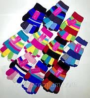 Перчатки подростковыеодинарные полосатые Корона, ассорти, 5033