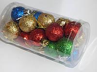 Набор игрушки новогодней  для украшения елки. 3 см,4 цвета 20 шт в банке