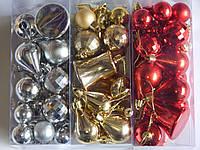 Набор шарик, звезда и колокольчик. Игрушки новогодней  для украшения елки 20шт