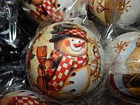Игрушка (Шарик)  новогодняя 10 см  с росписью  для украшения елки, фото 1