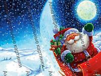 Вафельная Картинка Дед Мороз ночью