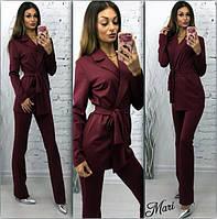 Костюм деловой пиджак на запах с поясом и брюки 6 цветов 2Dmil28
