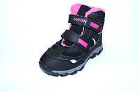 Зимние ботинки на липучках для девочки черные (30-35)