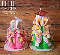 Нежный набор свечей. Красиво сделанная резьба, украшены бусинками, ручная мастерская резьба