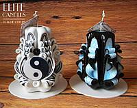 """Набор свечей """"Инь-Янь"""". Красиво сделанная резьба, украшены бусинками, ручная мастерская резьба"""