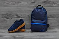 Городской, спортивный рюкзак Nike синий с синей полоской