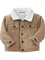 Демисезонная бежевая курточка с меховой подкладкой на мальчика Old Navy