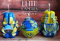 """Набор свечей """"Патриотический"""". Желто - голубая раскраска, Герб Украины"""