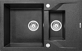 Моййка 1,5-камерна з полицею Deante АNDANTE, графітовий граніт, 780х490х190 мм